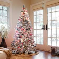 flocked christmas tree decorating ideas u2013 decoration image idea