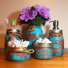 Mason Jar Bathroom Decor Copper Patina Mason Jar Bathroom Set U2014 Mason Jars U2014 Rustic Hustle