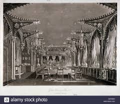 interior view of the gothic dining room in carlton house stock