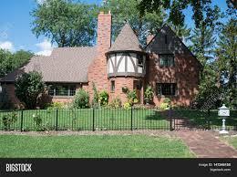 tudor home red brick english tudor house round image u0026 photo bigstock