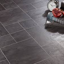 Laminate Tiles For Kitchen Floor Libretto Black Slate Effect Laminate Flooring 1 86 M Pack Slate