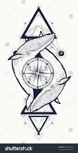 two whales rose compass tattoo geometric stock vector 524683786