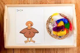 turkey color and number match montessori activity preschool