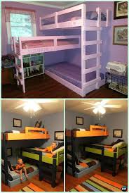 diy triple bunk bed instructions diy kids bunk bed free plans