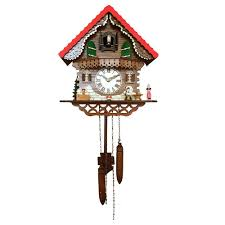 animated musician figure swiss farm house simple cuckoo clock