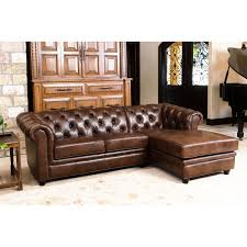 Leather Sofa Tufted by Abbyson Tuscan Top Grain Leather Chaise Sectional Hayneedle
