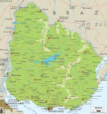 Physical Maps Large Detailed Physical Map Of Uruguay With Cities And Roads