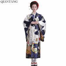 Hot Sale Fashion Women Kimono Yukata Haori With Obi Navy Blue