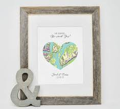 customized wedding gift personalized engagement gift where it all began map print