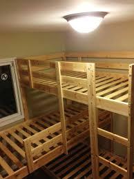 triple bunk bed modern coffee table display shelves simple wood