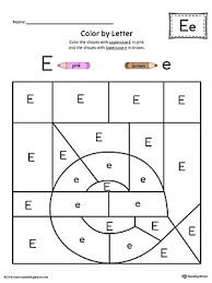 letter e tracing and writing printable worksheet color