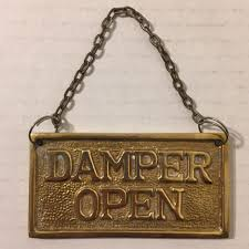 Damper On Fireplace by Hanging Solid Brass Fireplace Damper Open Closed Sign Ebay