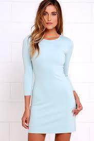 Classic Light Blue Dress Long Sleeve Dress A Line Dress 48 00