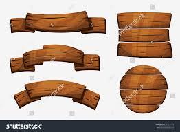 Wooden Material Element Cartoon Wooden Plank Signs Wood Banner Stock Vector 538723759