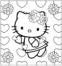 kitty hearts coloring pages free coloring pages