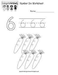 free printable number six worksheet for kindergarten