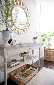 White Foyer Table Black Mirror With Wood Console Table Transitional With