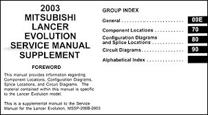 2003 mitsubishi lancer evolution wiring diagram manual original