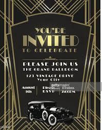 art deco car style vintage invitation design template vector art