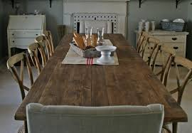 rustic dining room table with bench six linen upholstered dining