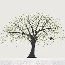 Nursery Tree Wall Decal by Ginormous Tree With Birdhouse Wall Decal