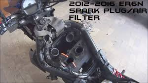 how to change kawasaki er6n spark plug air filter 2012 2016 youtube