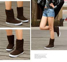 womens winter boots for sale genuine cow suede plush boots leather mid calf slip on