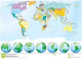 Countries Map World Map With All Capitals Countries Stock Image Image 14525501