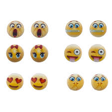 earring stud set yellow emoji smiley different faces multi earring stud set 6pc