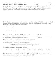 acid base unit review sheet