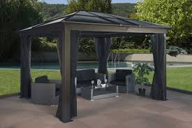exterior design metal hardtop gazebo with charming curtains for