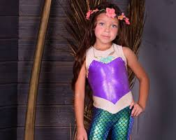 Mermaid Halloween Costume Toddler Girls Metallic Leggings Mermaid Swimwear Krabkakes