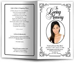 funeral booklets frame borders cadence letter single fold template