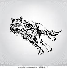 running wolf ornament stock vector 438015478
