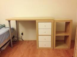 Using 2 Ikea Expedit Bookcases by Custom Ikea Desk From An Expedit Shelf Linnmon Table Top I