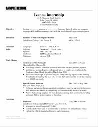 It Resume Objectives Examples Of Resumes For Internships Of Resumes Internship Resume