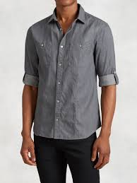 john varvatos cotton linen rolled sleeve shirt in gray for men lyst