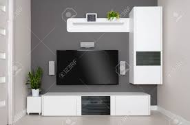 modern living room tv and speakers home theater stock photo