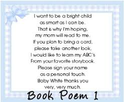 a book instead of a card poem search baby shower for