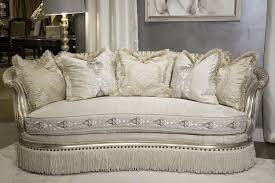 Aico Furniture Outlet Aico Giselle Wood Trim Sofa Platinum Finish Usa Furniture Warehouse