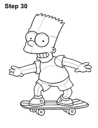 how to draw bart simpson full body