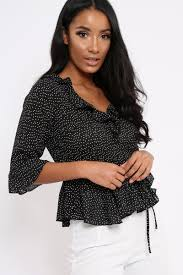 black polka dot blouse ruffle polka dot blouse