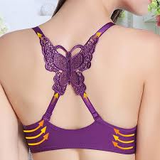 front button gather push up lace butterfly back bras is cheap