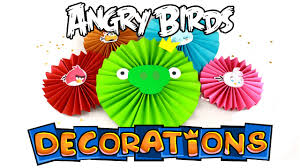 diy angry birds decorations paper rosettes