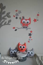 hibou chambre bébé décoration chambre bébé corail gris argenté hibou chouette étoiles