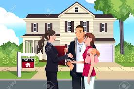 illustration of real estate agent in front of a sold house with
