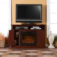 cherry wood tv stand with electric fireplace and cd storage