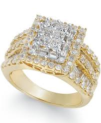 cluster rings diamond cluster ring 2 ct t w in 14k gold rings jewelry