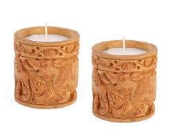 set of 2 hand carved elephant tea light candle holders fireplace