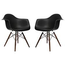 set of 2 eames style daw molded black plastic dining armchair with